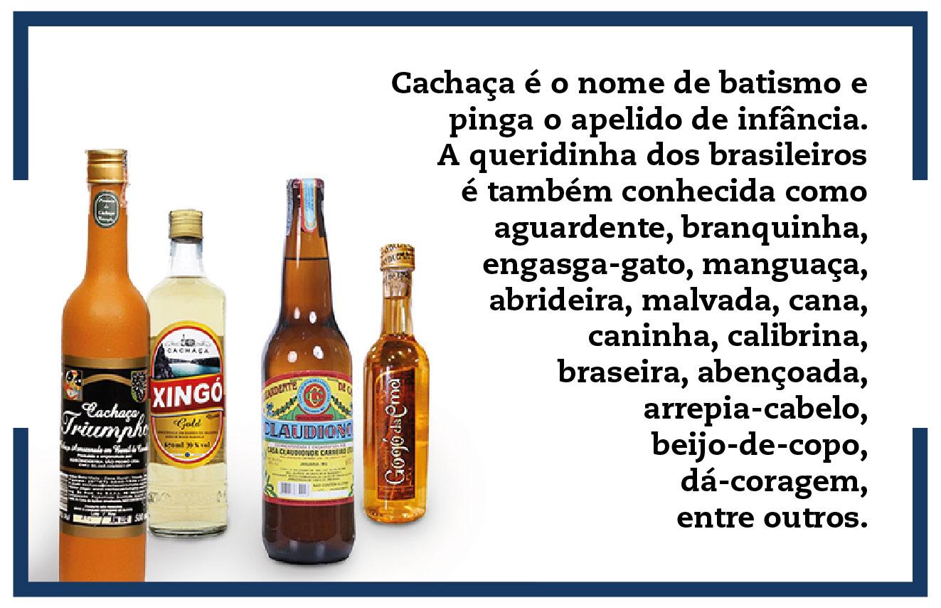Cachaça é o nome de batismo e pinga o apelido de infância. A queridinha dos brasileiros é também conhecida como aguardente, branquinha, engasga-gato, manguaça, abrideira, malvada, cana, caninha, calibrina, braseira, abençoada, arrepia-cabelo, beijo-de-copo, dá-coragem, entre outros.