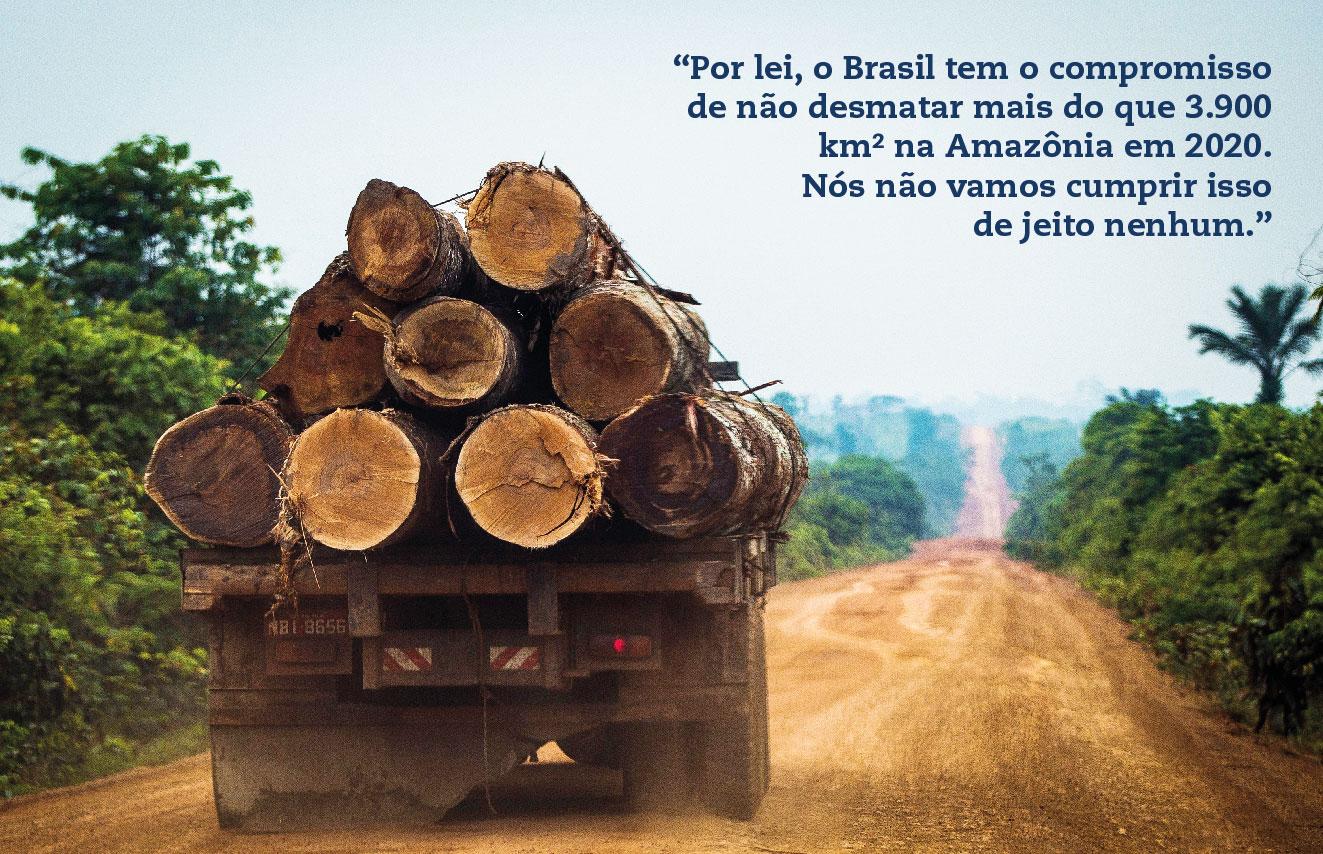 """""""Por lei, o Brasil tem o compromisso de não desmatar mais do que 3.900 km2 na Amazônia em 2020. Nós não vamos cumprir isso de jeito nenhum."""""""