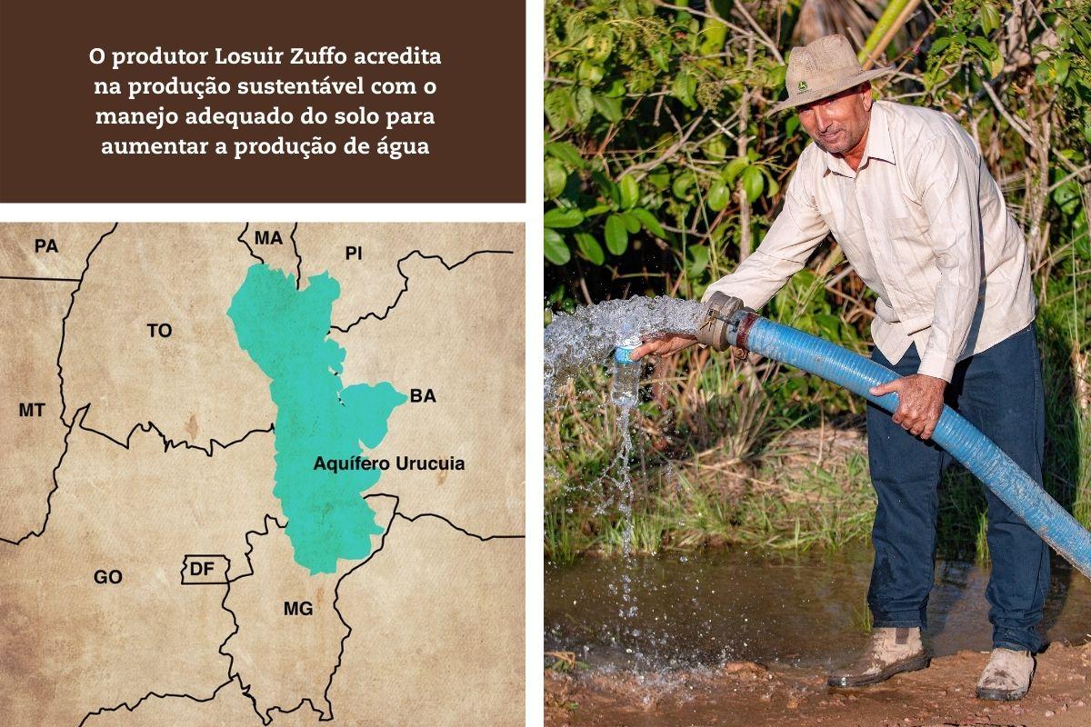 O produtor Losuir Zuffo acredita na produção sustentável com o manejo adequado do solo para aumentar a produção de água